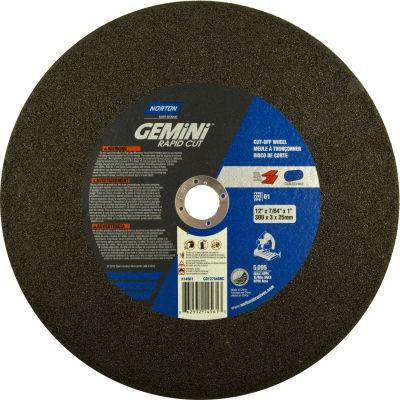 "Norton 66253214561 Gemini Chop Saw Cut-Off Wheel 12"" x 3/32"" x 1"" 36 Grit Aluminum Oxide Type 1 - Pkg Qty 10"
