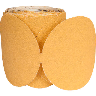 """Norton 66261149821 Paper PSA Disc Roll 5"""" Dia. P400 Grit Aluminum Oxide 100 Disc Per Roll"""