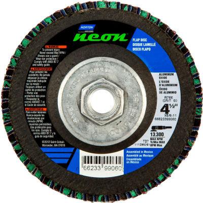 "Norton 66623399059 Neon Fiberglass HD Flat Flap Disc T27 4-1/2"" x 5/8 - 11"" P40 Grit Zirconia Alum. - Pkg Qty 10"