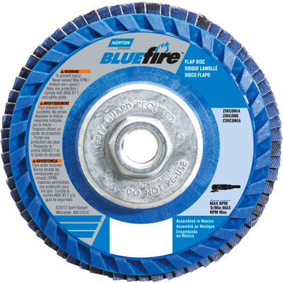 "Norton 66623399137 BlueFire Plastic Flat Flap Disc T27 4-1/2"" x 5/8 - 11"" P40 Grit Zirconia Alumina - Pkg Qty 10"