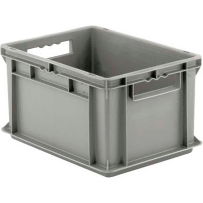 """SSI Schaefer Euro-Fix Solid Container EF4220 - 16"""" x 12"""" x 9"""", Gray - Pkg Qty 12"""