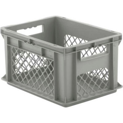 "SSI Schaefer Euro-Fix Solid Base/Mesh Sides Container EF4221 - 16"" x 12"" x 9"", Gray - Pkg Qty 12"