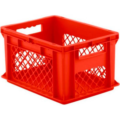 "SSI Schaefer Euro-Fix Solid Base/Mesh Sides Container EF4221 - 16"" x 12"" x 9"", Red - Pkg Qty 12"