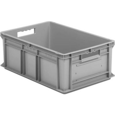 "SSI Schaefer Euro-Fix Solid Container EF6220 - 24"" x 16"" x 8"", Gray - Pkg Qty 6"