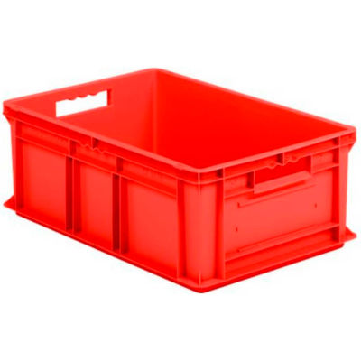 """SSI Schaefer Euro-Fix Solid Container EF6220 - 24"""" x 16"""" x 8"""", Red - Pkg Qty 6"""