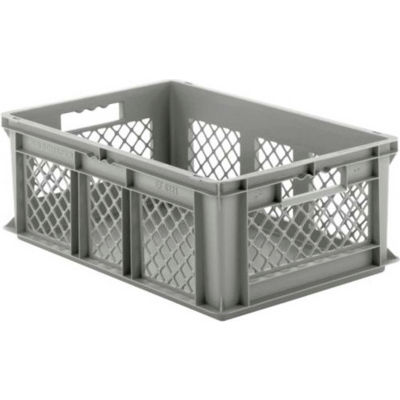 "SSI Schaefer Euro-Fix Solid Base/Mesh Sides Container EF6221 - 24"" x 16"" x 8"", Gray - Pkg Qty 6"