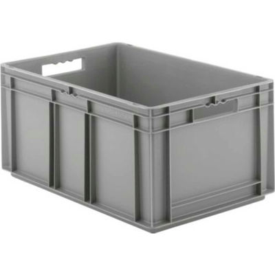 """SSI Schaefer Euro-Fix Solid Container EF6320 - 24"""" x 16"""" x 13"""", Gray - Pkg Qty 4"""