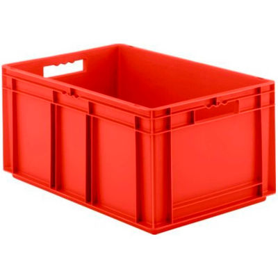 """SSI Schaefer Euro-Fix Solid Container EF6320 - 24"""" x 16"""" x 13"""", Red - Pkg Qty 4"""