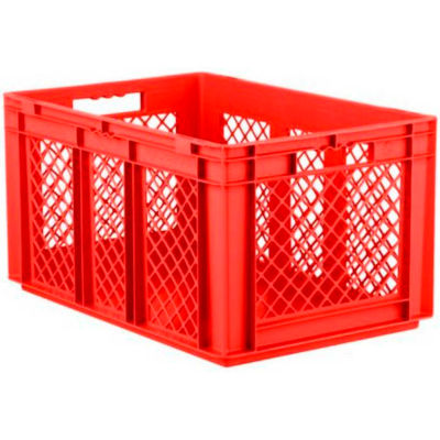 """SSI Schaefer Euro-Fix Solid Base/Mesh Sides Container EF6321 - 24"""" x 16"""" x 13"""", Red - Pkg Qty 4"""