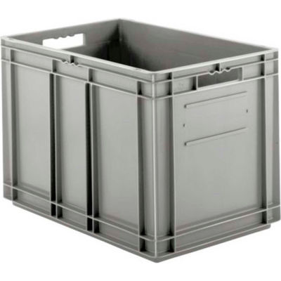 """SSI Schaefer Euro-Fix Solid Container EF6420 - 24"""" x 16"""" x 17"""", Gray - Pkg Qty 2"""