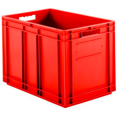 """SSI Schaefer Euro-Fix Solid Container EF6420 - 24"""" x 16"""" x 17"""", Red - Pkg Qty 2"""