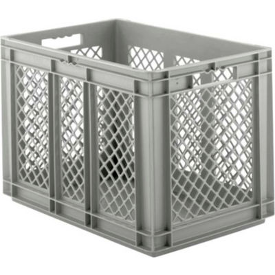 """SSI Schaefer Euro-Fix Solid Base/Mesh Sides Container EF6421 - 24"""" x 16"""" x 17"""", Gray - Pkg Qty 2"""