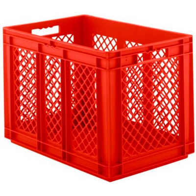 "SSI Schaefer Euro-Fix Solid Base/Mesh Sides Container EF6421 - 24"" x 16"" x 17"", Red - Pkg Qty 2"