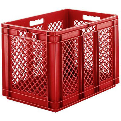 "SSI Schaefer Euro-Fix Mesh Container EF6423 - 24"" x 16"" x 16-5/8"", Red - Pkg Qty 2"
