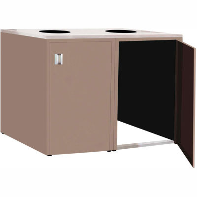 """Double Recycle Cabinet - 60""""W x 27-3/4""""D x 39-15/32""""H (Pewter Gray)"""