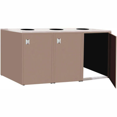 """Triple Recycle Cabinet - 90""""W x 27-3/4""""D x 39-15/32""""H (Pewter Gray)"""