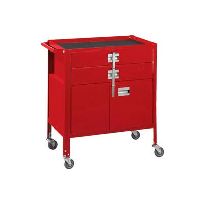 "Deluxe Technician Cart-Portable Cart, 29-1/4""W x 18-1/4""D x 34""H-Carmine Red"