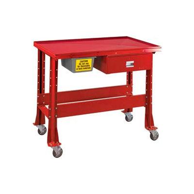 "Standard Tear-Down/Fluid Containment Bench-Portable, 48""W x 32""D-Carmine Red"