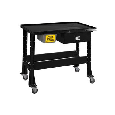 "Standard Tear-Down/Fluid Containment Bench-Portable, 48""W x 32""D-Gloss Black"