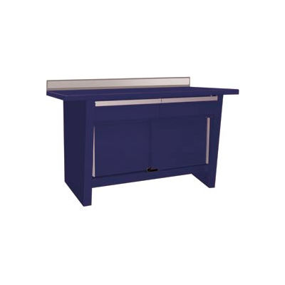 Custom® Series-Stationary, Hardwood Top, 2 Drawers/2 Doors-St.Louis Blue