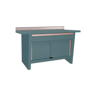 Custom® Series-Stationary, Hardwood Top, 2 Drawers/2 Doors-Sebring Grey