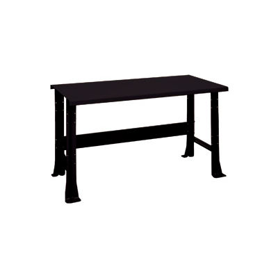 """Shureshop® Adjustable Height Stationary Bench - Painted Steel Top 60"""" x 29"""" - Gloss Black"""