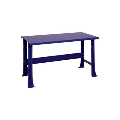 "Shureshop® Adjustable Height Stationary Bench - Painted Steel Top 72"" x 29"" - St. Louis Blue"
