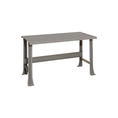 "Shureshop® Adjustable Height Stationary Bench - Painted Steel Top 72"" x 29"" - Sebring Grey"