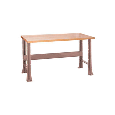"Shureshop® Adjustable Height Stationary Bench - Maple Top 72"" x 30"" - Pewter Grey"