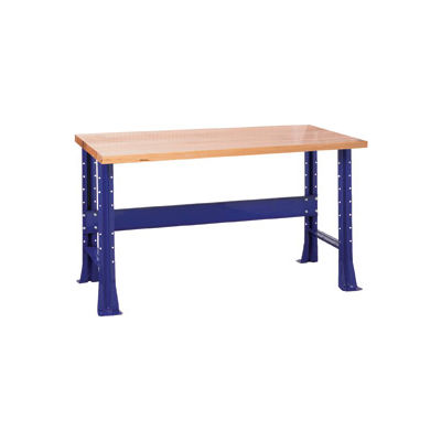 "Shureshop® Adjustable Height Stationary Bench - Maple Top 72"" x 30"" - St. Louis Blue"