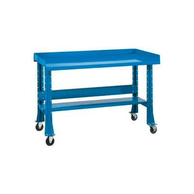 """Shureshop® Mobile Automotive Workbench - Maple Butcher Block - 60""""W x 30""""D - Monaco Blue"""
