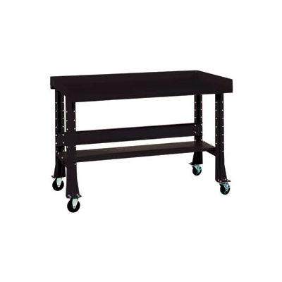 "Shureshop® Mobile Automotive Workbench - Maple Butcher Block - 72""W x 30""D - Gloss Black"