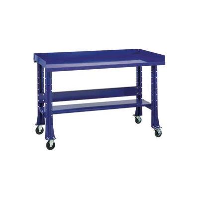 """Shureshop® Mobile Automotive Workbench - Maple Butcher Block - 72""""W x 30""""D - St. Louis Blue"""