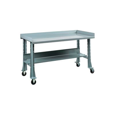 "Shureshop® Mobile Automotive Workbench - Maple Butcher Block - 72""W x 30""D - Sebring Grey"