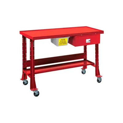 """Oversized Tear-Down/Fluid Containment Bench-Portable, 60""""W x 32""""D-Carmine Red"""