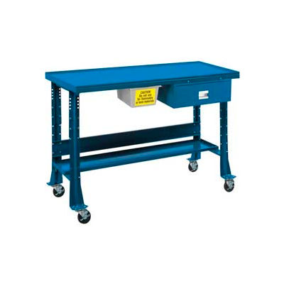 "Shure Portable Oversized Teardown or Fluid Containment Bench, 60""W x 32""D x 29-40""H, Blue"