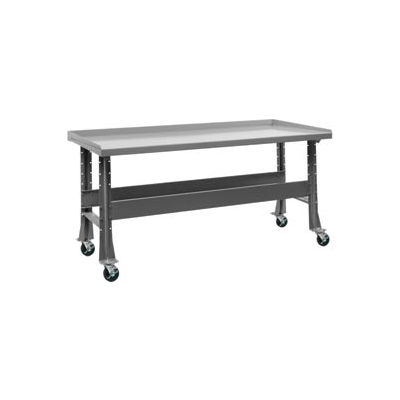 "Trans Max Bench-Portable, Steel Top, 73-1/2""W x 34-1/4""D-Sebring Gray"
