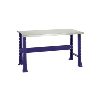 """Shureshop® Adjustable Height Stationary Bench - Stainless Steel Top 72"""" x 29"""" - St. Louis Blue"""