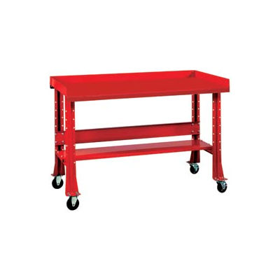 """Shureshop® Mobile Automotive Workbench - Stainless Steel - 60""""W x 29""""D - Carmine Red"""