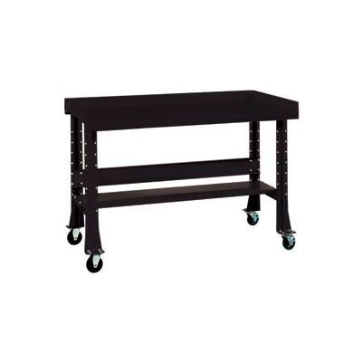 "Shureshop® Mobile Automotive Workbench - Stainless Steel - 72""W  x 29""D - Gloss Black"