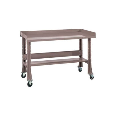 """Shureshop® Mobile Automotive Workbench - Stainless Steel - 72""""W x 29""""D - Pewter Grey"""