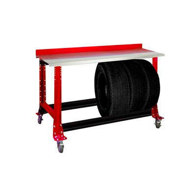 """Tire Cart w/ Stainless Steel Bench Top 54-1/2""""W x 25-5/8""""D x 41""""H-Carmine Red"""