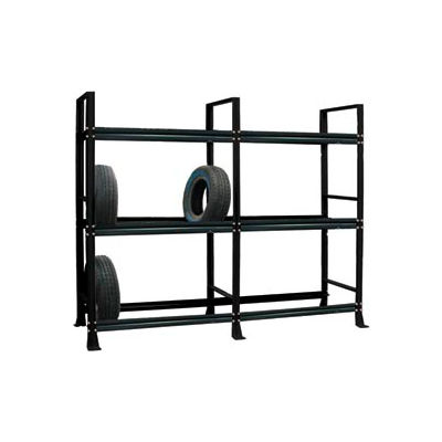 """Tire Rack-2 sect./3 tiers, stationary, 120""""W x 25-5/8""""D x 96-3/4""""H-Gloss Black"""