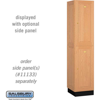 "Double Tier 2 Door Solid Oak Executive Wood Locker, 16""Wx18""Dx36""H, Light Oak, Assembled"