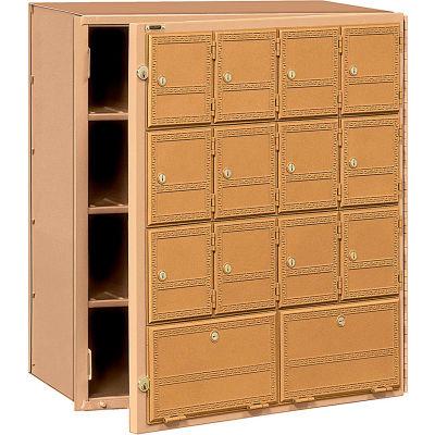 Aluminum Americana Mailbox 2114FL - 14 Doors, Front Loading, Private Access, Brass