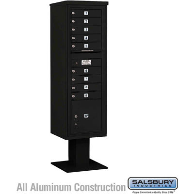 "Salsbury 4C Pedestal Mailbox 3415S-09 - 70-1/4""H Single Column MB1/1 PL4 Black"