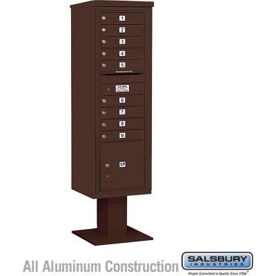 "Salsbury 4C Pedestal Mailbox 3415S-09 - 70-1/4""H Single Column MB1/1 PL4 Bronze"