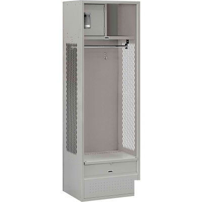 """Steel Gear Locker With Open Front, 24""""Wx18""""Dx72""""H, Gray, Unassembled"""