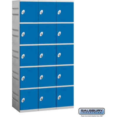 "Five Tier 15 Door Plastic Locker, 12-3/4""Wx18""Dx14-5/8""H, Blue, Assembled"