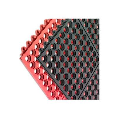 """San Jamar® Connect-A-Mats Light Duty Drainage Mat 1/2"""" Thick 3' x 3' Black"""